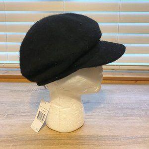 NWT Sz OS Nine West Black Beaded Newsboy Hat